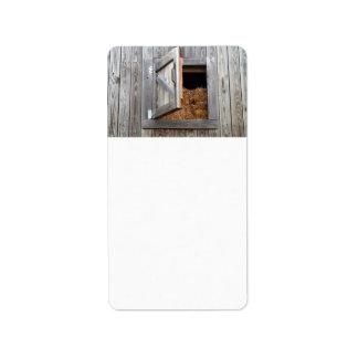 Wooden Building Hayloft Door Open Address Label