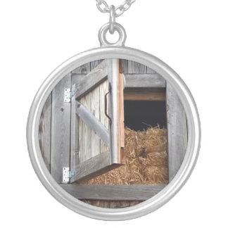 Wooden Building Hayloft Door Open Silver Plated Necklace