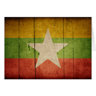 Wooden Burma Flag Card