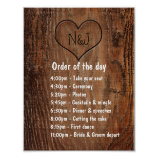Wooden Burn Heart Rustic Wedding Order of The Day Poster