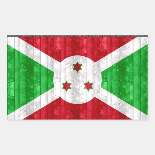 Wooden Burundian Flag Rectangular Stickers