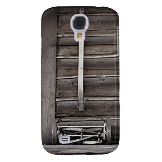 Wooden Cabin and Antique Reel Lawnmower Samsung Galaxy S4 Cases