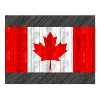 Wooden Canadian Flag Postcard