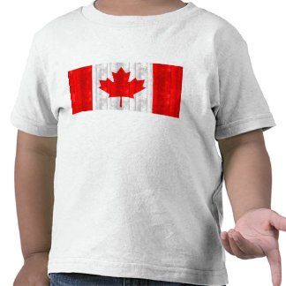 Wooden Canadian Flag Tee Shirts