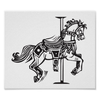Wooden Carousel Horse Poster