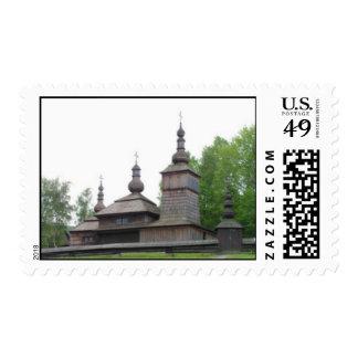 Wooden Carpathian Church Postage Stamp