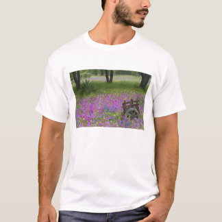 Wooden Cart in field of Phlox, Blue Bonnets T-Shirt