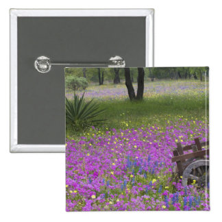 Wooden Cart in field of Phlox, Blue Bonnets with Button