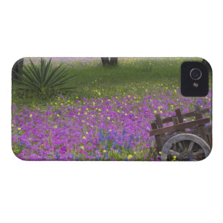 Wooden Cart in field of Phlox, Blue Bonnets with iPhone 4 Case-Mate Case