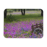Wooden Cart in field of Phlox, Blue Bonnets with Vinyl Magnet