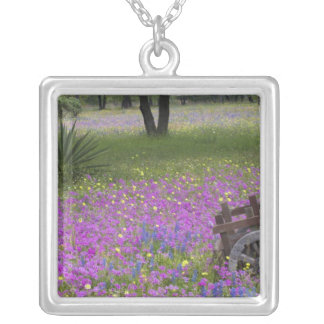 Wooden Cart in field of Phlox, Blue Bonnets with Square Pendant Necklace