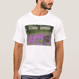 Wooden Cart in field of Phlox, Blue Bonnets with T-Shirt