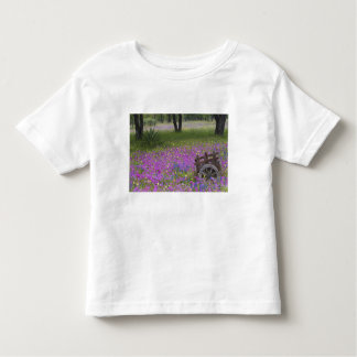 Wooden Cart in field of Phlox, Blue Bonnets with Toddler T-shirt