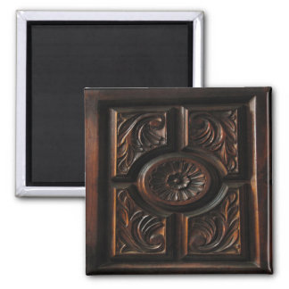 Wooden Carving 2 Inch Square Magnet