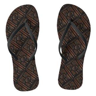 Wooden Carving Flip Flops