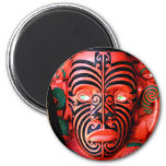 Wooden Carving of a Maori Warrior, New Zealand 2 Inch Round Magnet
