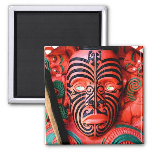 Wooden Carving of a Maori Warrior, New Zealand 2 Inch Square Magnet