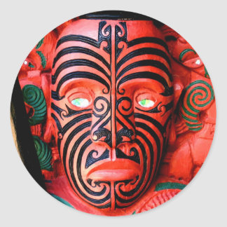 Wooden Carving of a Maori Warrior, New Zealand Classic Round Sticker