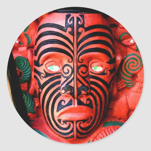 Wooden Carving of a Maori Warrior, New Zealand Round Stickers