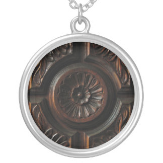 Wooden Carving Silver Plated Necklace