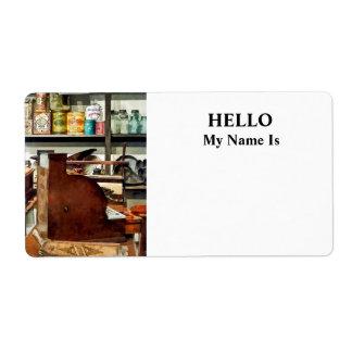 Wooden Cash Register in General Store Label