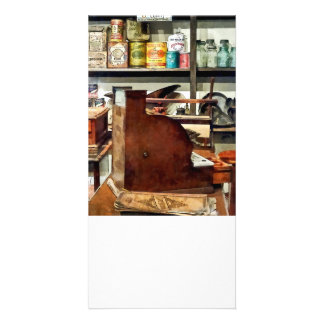 Wooden Cash Register in General Store Customized Photo Card