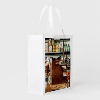 Wooden Cash Register in General Store Reusable Grocery Bag