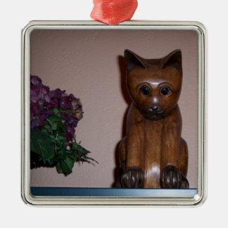 Wooden Cat Metal Ornament
