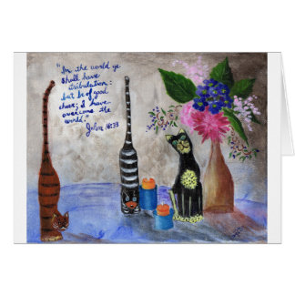 Wooden Cats Still Life Acrylic Painting Card