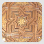 Wooden Ceiling with Golden Stars The Alhambra Square Sticker