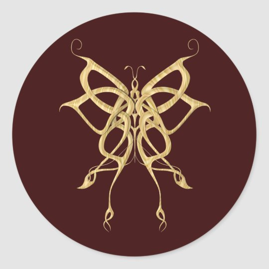 Wooden Celtic Butterfly Classic Round Sticker