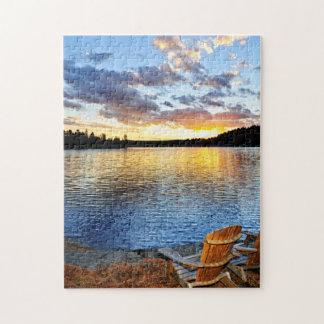 Wooden chairs at sunset on beach puzzles