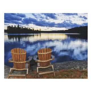 Wooden Chairs At Sunset On Lake Shore Panel Wall Art