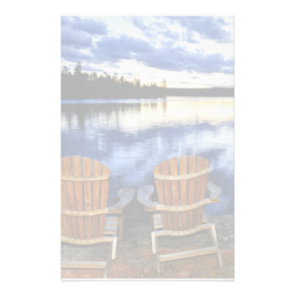 Wooden Chairs At Sunset On Lake Shore Stationery