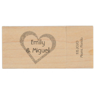 Wooden Chalkboard Heart Wedding USB Photo Storage Wood Flash Drive