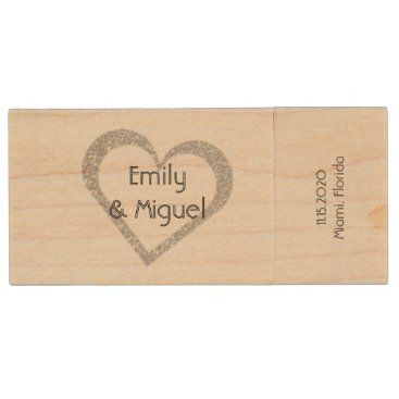 Valentines Themed Wooden Chalkboard Heart Wedding USB Photo Storage Wood Flash Drive