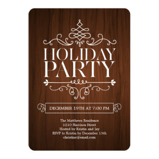 Wooden Charm Holiday Party Invitation Personalized Announcements