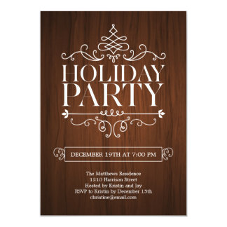 Wooden Charm Holiday Party Invitation Cards