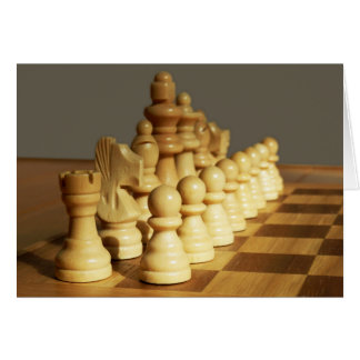 Wooden Chess Board and Pieces Blank Card