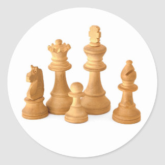 Wooden Chess Pieces Classic Round Sticker