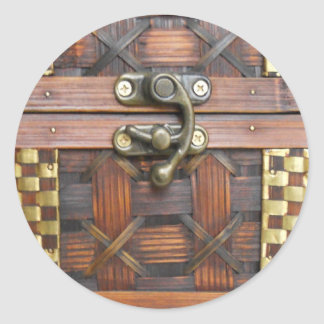 Wooden Chest with Metal Latch Classic Round Sticker