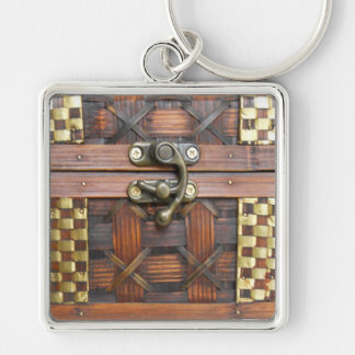 Wooden Chest with Metal Latch Keychains