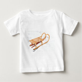 Wooden children sled in winter snow baby T-Shirt