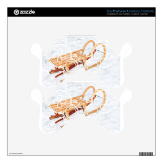 Wooden children sled in winter snow PS3 controller skins
