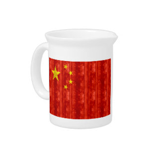 Wooden Chinese Flag Beverage Pitcher