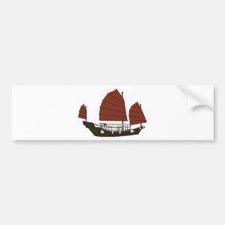 Wooden Chinese Junk Ship Bumper Sticker