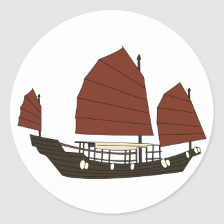 Wooden Chinese Junk Ship Classic Round Sticker