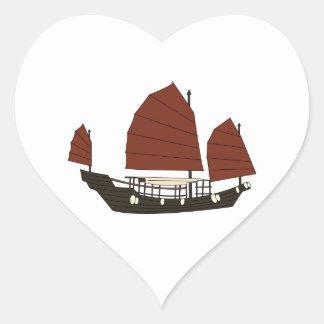 Wooden Chinese Junk Ship Heart Sticker