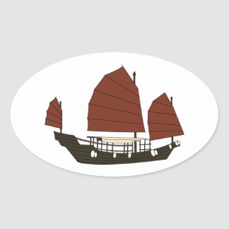 Wooden Chinese Junk Ship Oval Sticker