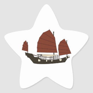 Wooden Chinese Junk Ship Star Sticker